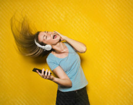Happy dancing to music